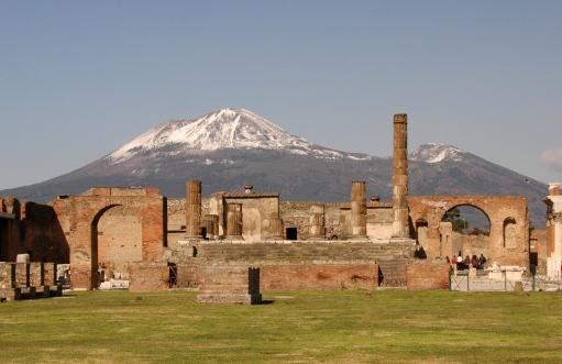 The ruins of Pompeii and Mt. Vesuvius